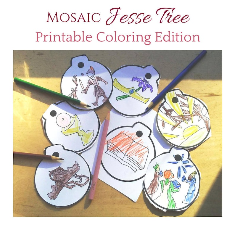 Coloring Pages Mosaic Jesse Tree printable ornaments with image 0