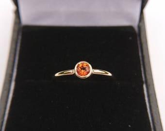 Topaz Ring. Solid 9ct Gold. Solitaire Ring. Engagement Birthday Anniversary. 4mm Bezel Set Swarovski Topaz, 9 Colours. November Birthstone.