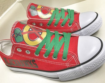 more photos 8b050 7108b Custom CHICAGO BLACKHAWKS Womens   Mens Red Black White Green Yellow Low  Top Canvas Tennis Shoes