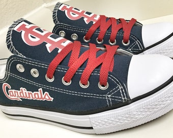 a97540e7ddc5 Custom Cardinals Womens   Mens Navy White Red Low Top Canvas Tennis Shoes