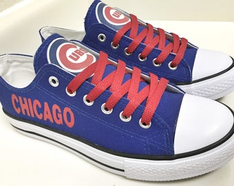 4c2811ba9df Custom CHICAGO CUBS Womens & Mens Royal Blue/Red/White Low Top Canvas  Tennis Shoes