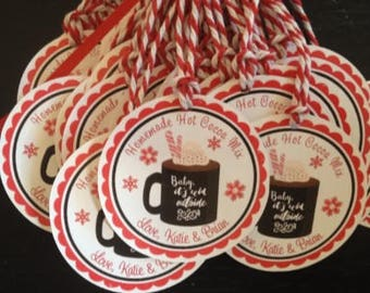 Personalized Hot Cocoa Tags - Hot Chocolate Tags - Hot Cocoa Mix Tags - Christmas Cocoa Tags