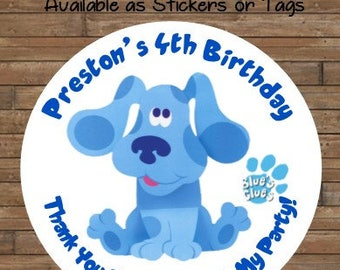 Personalized Blue's Clues Stickers - Blue's Clues Favor Tags - Blue's Clues Birthday