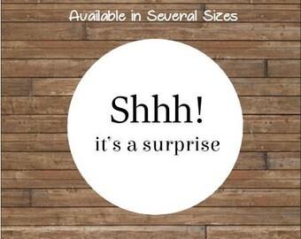 SHHH! It's A Surprise Stickers or Tags       Surprise Party Stickers            Surprise Party Seals