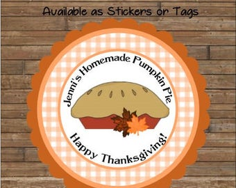 Personalized Labels - Pumpkin Pie Labels - Pumpkin Pie Stickers - Pumpkin Pie Tags - Baked Goods Labels - Baked By Tags