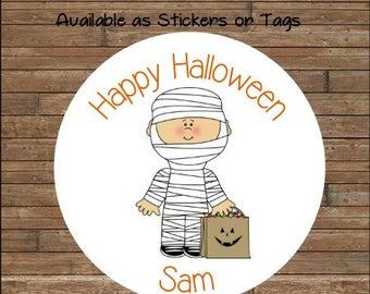 Personalized Halloween Stickers    Mummy Stickers     Mummy Favor Tags        Halloween Treat Bag Tags   Kids Halloween