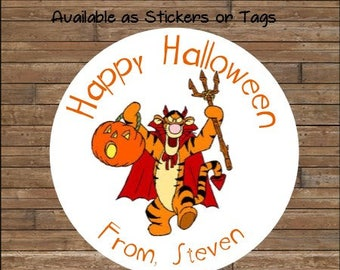 Personalized Halloween Stickers  Tigger Stickers   Tigger Favor Tags      Tigger Halloween Stickers