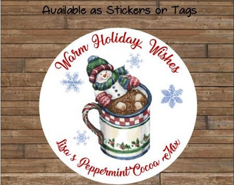 Personalized Hot Chocolate Stickers     Hot Cocoa Tags     Hot Cocoa Mix    Hot Cocoa Labels   Warm Holiday Wishes   Snowman Hot Cocoa