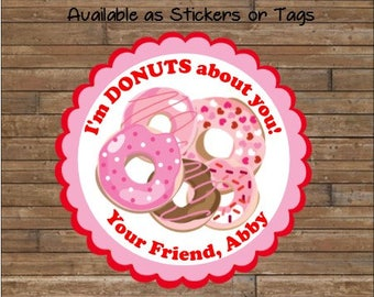 Personalized Valentine Stickers - Valentine Tags - I'm Donuts Valentine  - Donut Valentines - Donuts Valentine's Day Tags