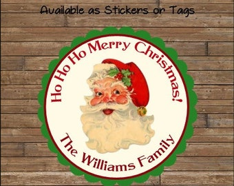 Personalized Christmas Stickers     Santa Stickers       Santa Favor Tags   Santa Gift Tags