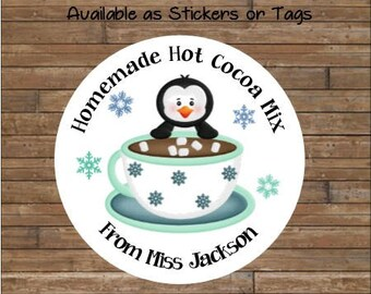 Personalized Hot Chocolate Stickers     Hot Cocoa Tags     Hot Cocoa Mix    Hot Cocoa Labels  Penquin Stickers