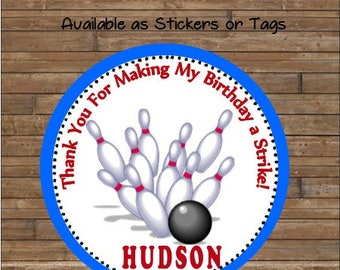 Personalized Bowling Stickers     Bowling Favor Tags      Bowling Party