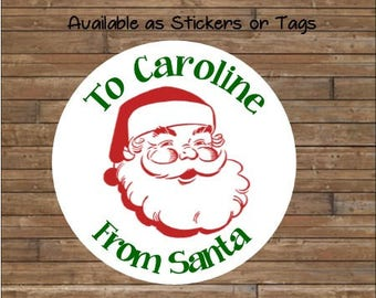 Personalized Christmas Stickers     Santa Stickers       Santa Favor Tags   Santa Gift Tags  From Santa Stickers -  From Santa Tags  Style 2