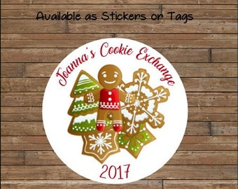 Personalized Christmas Cookie Exchange - Christmas Cookie Swap - Christmas Cookie Stickers - Your Custom Text!