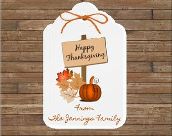 Personalized Thanksgiving Tags - Happy Thanksgiving Tags