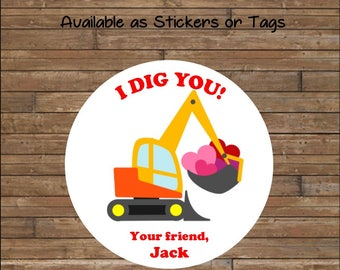 Personalized Valentine Stickers - Valentine Tags - Digger Valentine  - I Dig You Valentines - Digger Valentine's Day Tags