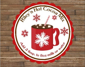 Personalized Hot Chocolate Stickers     Hot Cocoa Tags     Hot Cocoa Mix   Hot Cocoa Instructions