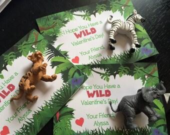 Child's Valentine Cards - Wild Valentine Cards - Valentine Treats - Kid's Valentine Cards - Jungle Animal Valentine Cards