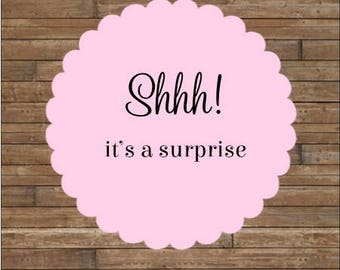 Pink SHHH! It's A Surprise Stickers or Tags       Surprise Party Stickers            Surprise Party Seals