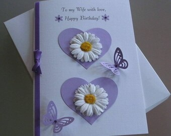 Handmade Boxed 3D Anniversary Card Wife/Partner/Girlfriend A5 Daisies and Butterflies Lilac and White