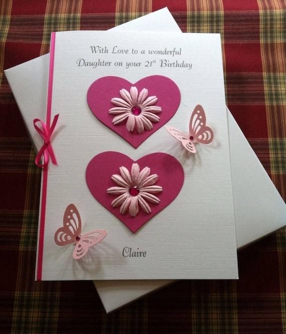 HEART LOVE PERSONALISED Birthday Card Daughter Sister Niece