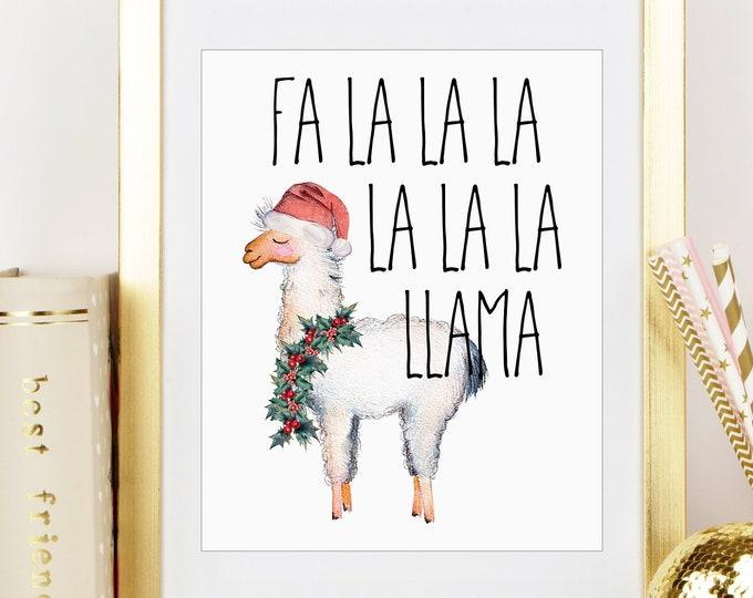Christmas Llama 8x10 Inch Art Print