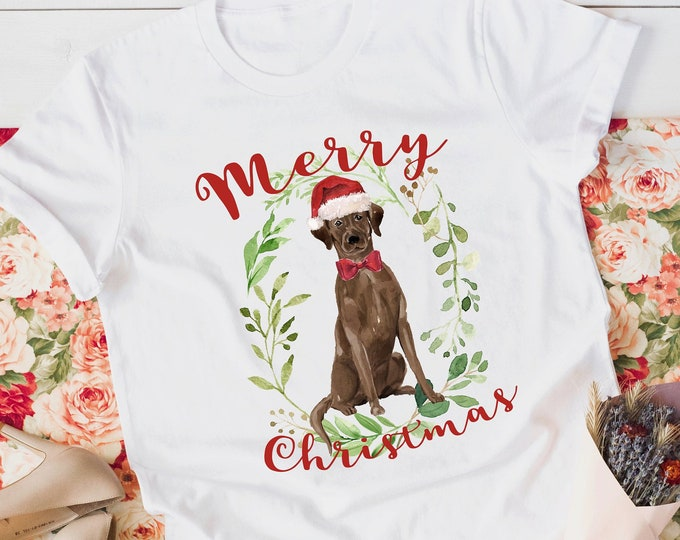 Merry Christmas Chocolate Labrador Tee