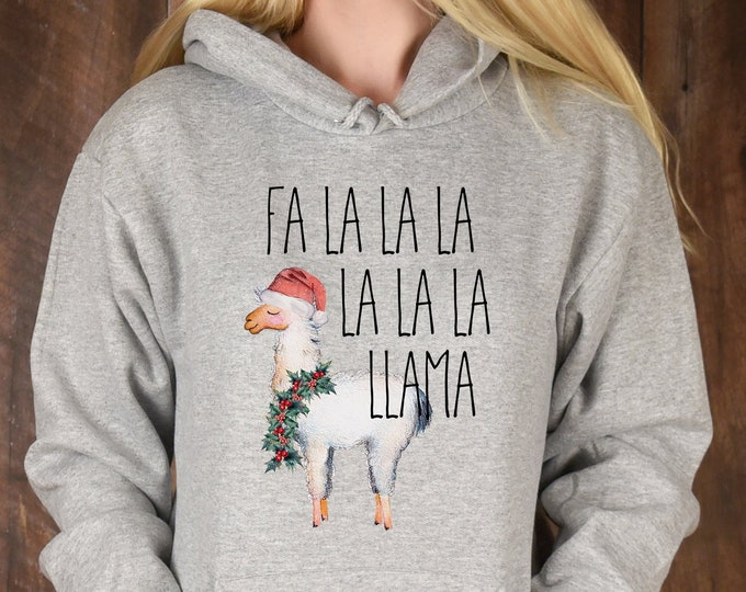 Cute Llama Christmas Fa La La Llama Hoodie, Unisex