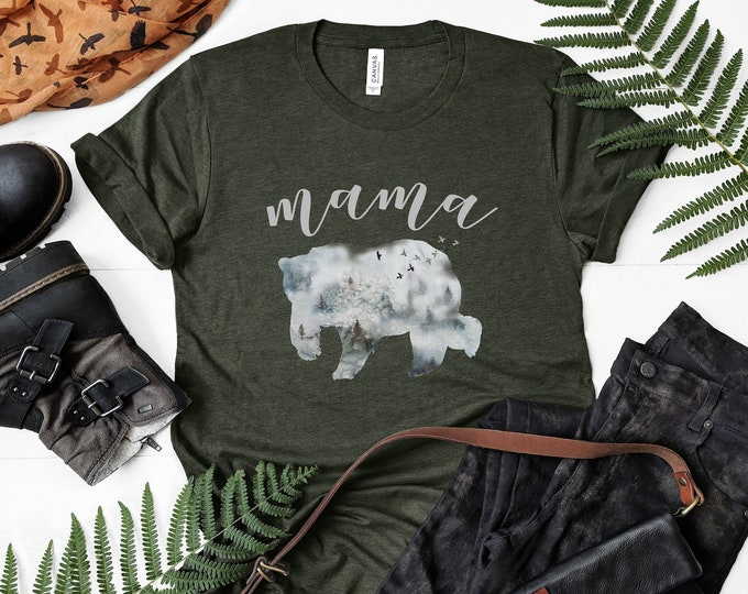 Mama Bear Winter Forest Tee