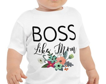 Boss Like Mom Floral Baby Tee
