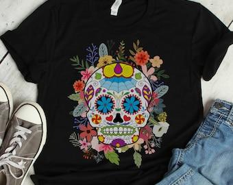 Sugar Skull with Roses Day of the Dead T-Shirt Calavera Skull Tee