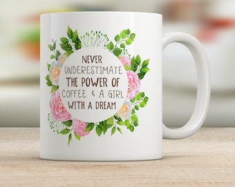 Never Underestimate the Power of Coffee and a Girl With a Dream Mug
