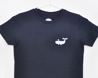 Kids T-Shirt Whale / T-Shirt Dark Blue / Screen printed in white / Hand printed / Organic cotton / Gift for kids / Size 122