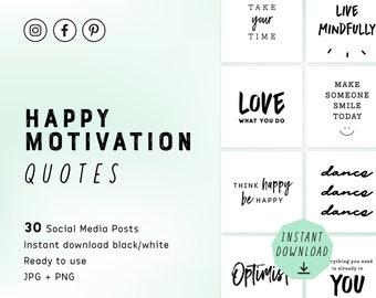 Social Media Posts Quotes / Motivation / Black and White / Instagram Posts / Facebook Posts / Pinterest Posts / Digital download / PNG / JPG