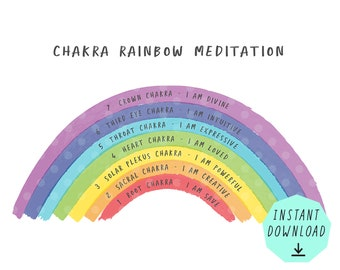 Chakra Meditation Rainbow / letter sheet / for kids  / for social media posts / for selfprinting / Instant Downlaod / Yoga