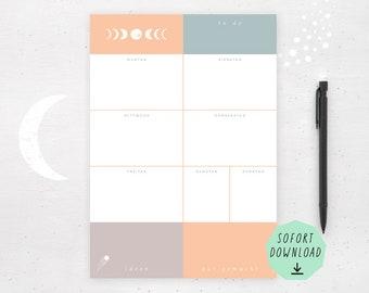 Wochenplaner Mondphasen zeitlos / A4 hoch / Kosmos / Deutsch / Instant Download / Sofort Download / Wochenplan zum selber ausdrucken
