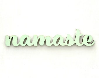 Wooden font Namaste / Yoga / 3d font in wood / hand printed with silkscreen / green / handmade / decoration / door sign