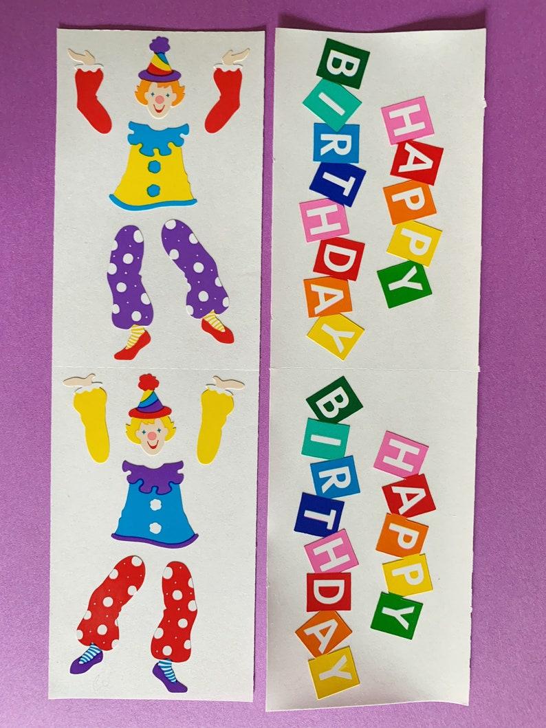 Grossman/'s Happy Birthday Clown Sticker Sheets 2 Vintage Mrs