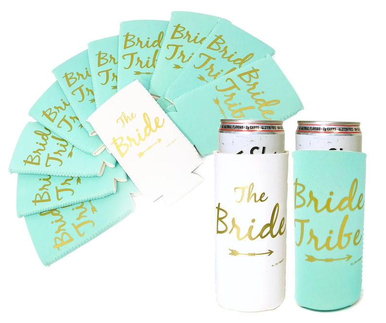 BRIDE TRIBE Bachelorette Party Skinny Slim Can Coolers Mint Green /& White Bridesmaid Proposal Box Favors Decorations for Spiked Seltzers