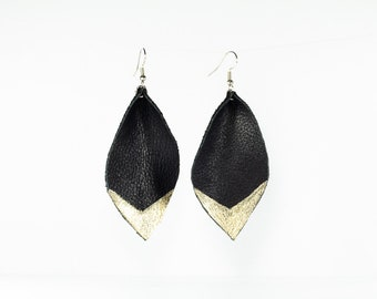 Leather Petal Earrings - Medium - Black with Hand-painted Gold