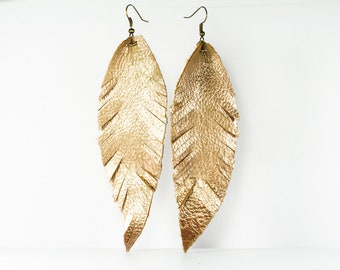Leather Feather Earrings - Extra Long - Rose Gold