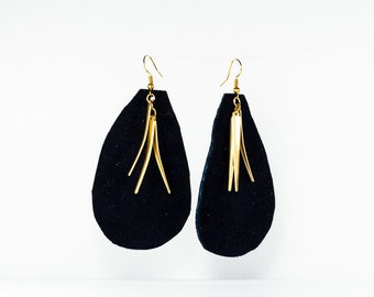 Leather Raindrop Earrings - Large - Navy with Gold Accents