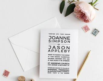 Printable Wedding Invitation | Wedding Invitations | Black & White Modern Justified Wedding | Digital | Wedding Invite