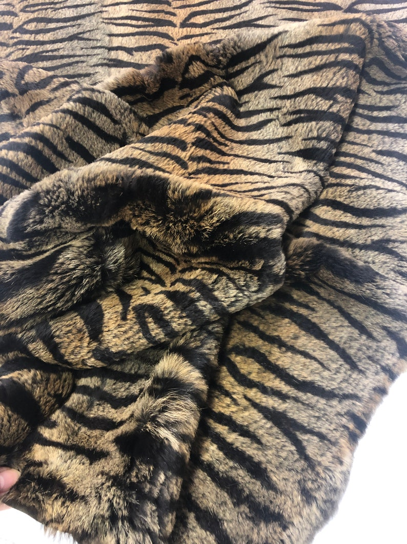 ANIMAL PRINT RABBIT Fur Plate 22\u201dx46\u201d Natural Rabbit Plate Printed Tiger Soft Perfect for Decorative Pillows and interior design