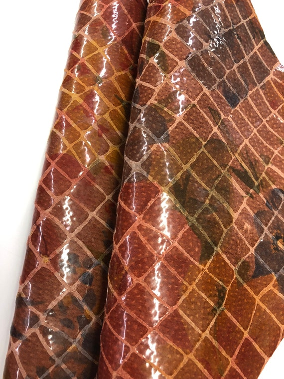 LEATHER SHEET Rust Cogniac Color Large Printed Crocodile with Floral Large Undertone Print in  Dark Green Navy Dark Red Thickness 0.7mm
