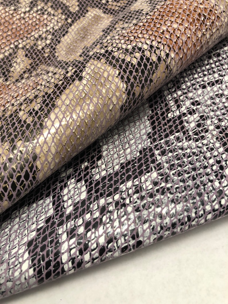 REALISTIC PYTHON LEATHER Print in Light Purple and Light Grey Tones real looking snake Large Print and Neutral Mauve and Purple Colors