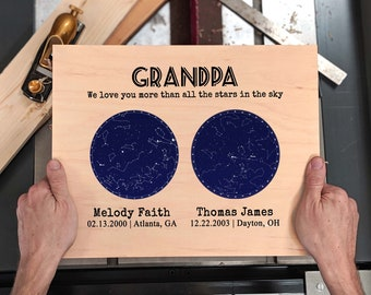 324305d5 Fathers Day Personalized Gift for Grandpa Gift Custom Star Map Wood  Constellation Map for Grandfather Gift for Papa Gift from Grandkids