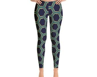 02c4354d27795a Geometric Hexagon Honeycomb Leggings by Dixie Cloth