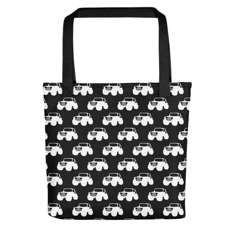 e5c3c277bbf1b6 Black and White Jeep Off Road Tote bag by Dixie Cloth   Etsy
