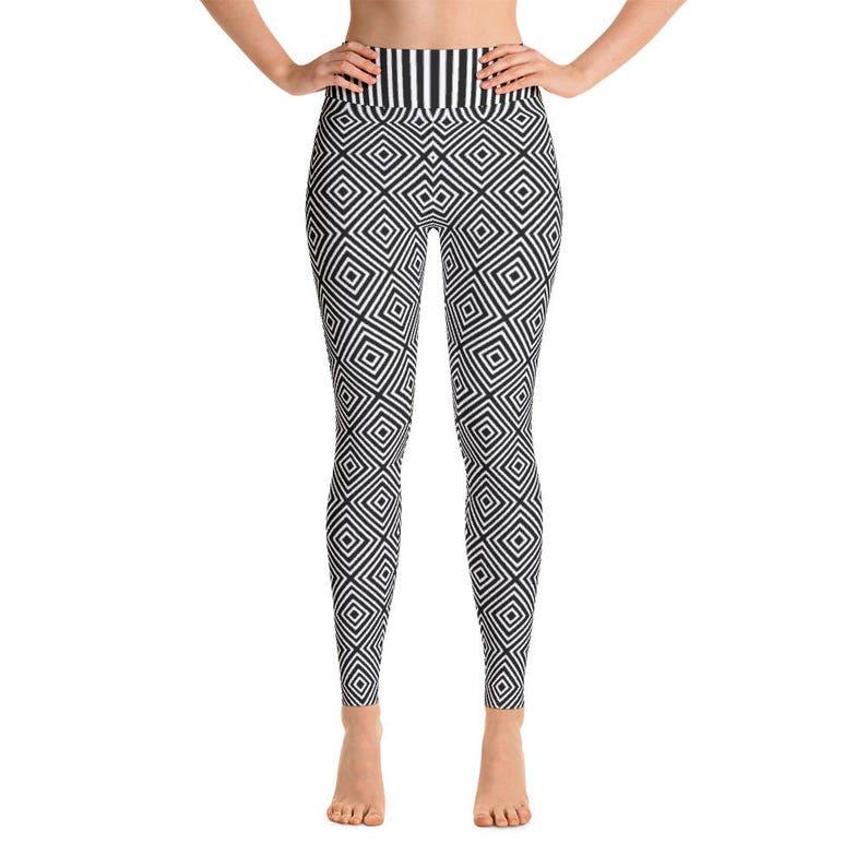 0f77c6c4af12cb Black and White Geometric Stripe Yoga Leggings by Dixie Cloth   Etsy